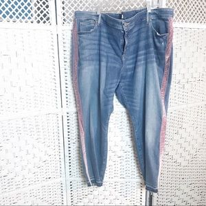 Loft Plus NWT Skinny Jeans With pink Velvet Stripe
